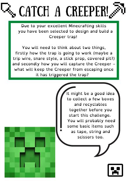 minecraft creeper trap activity idea
